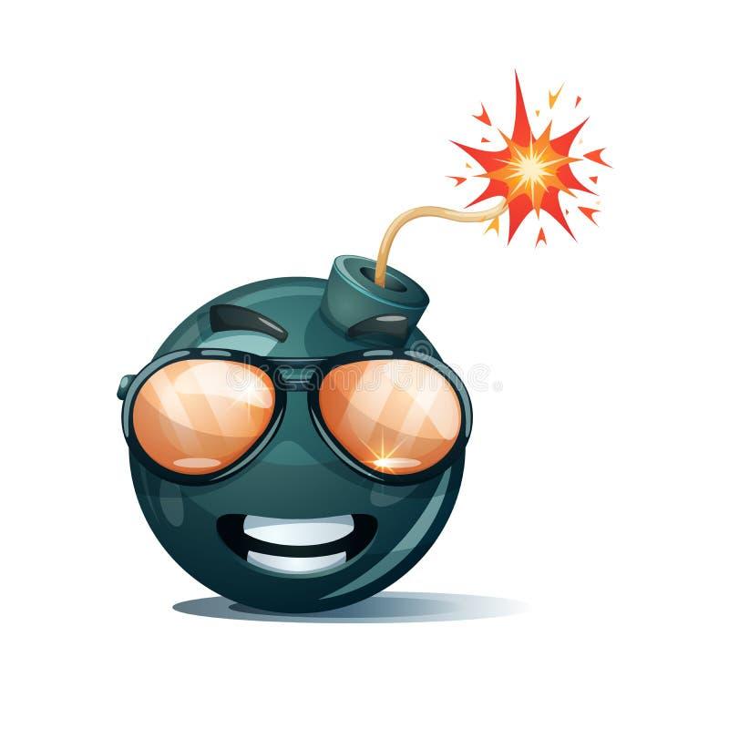 Bomba del fumetto, fusibile, stoppino, icona della scintilla Vetri di Sun sorridente royalty illustrazione gratis