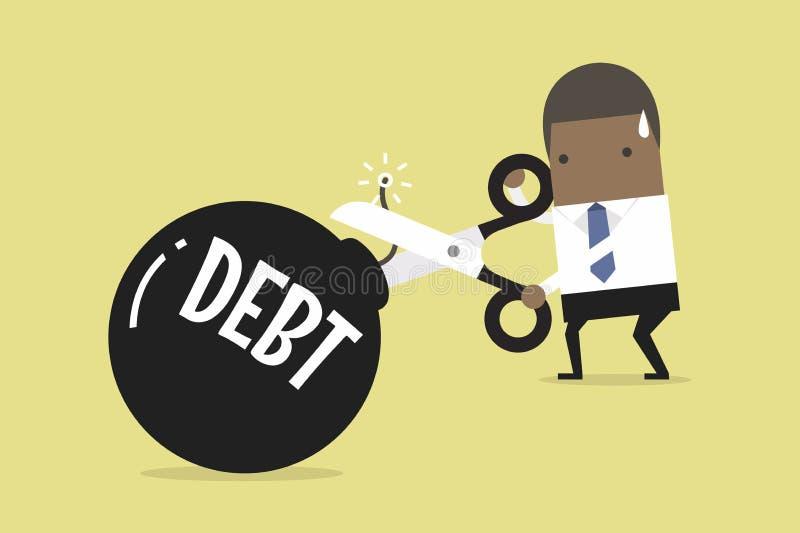 Bomba do débito do corte, mão africana do ` s do homem de negócios que guarda tesouras para cortar o débito ilustração royalty free