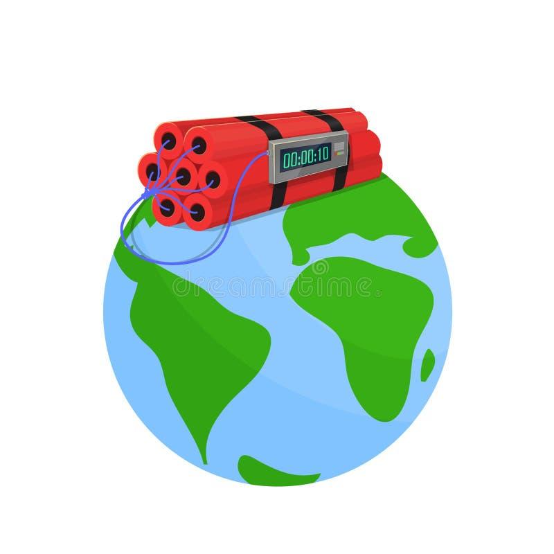 Bomba do perigo no mundo ilustração do vetor
