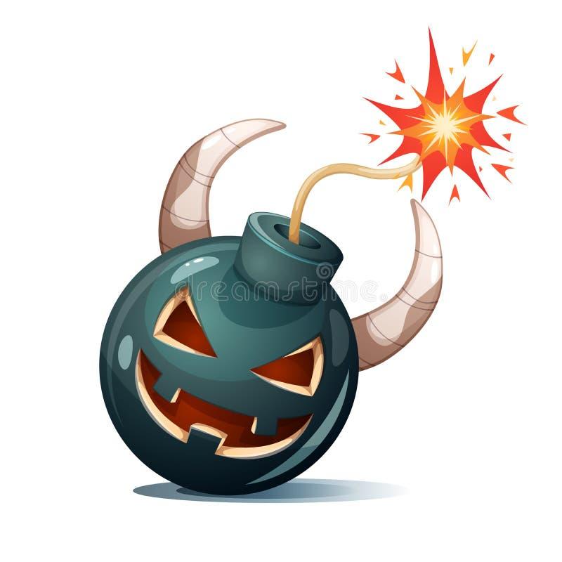 Bomba dos desenhos animados, caráteres da abóbora Ilustração de Halloween ilustração stock
