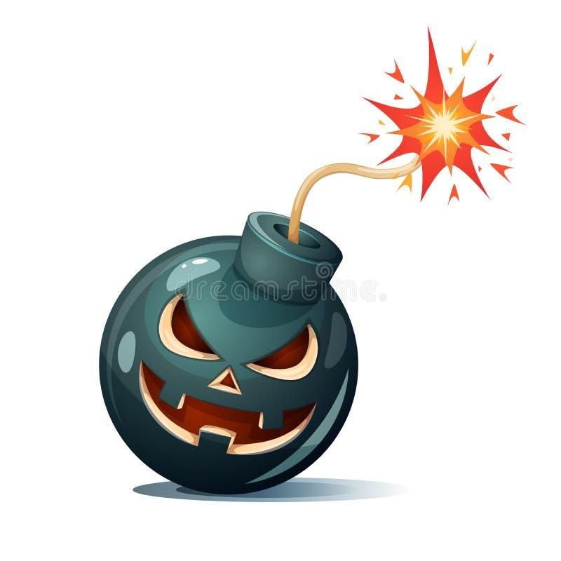 Bomba dos desenhos animados, caráteres da abóbora Ilustração de Halloween ilustração royalty free