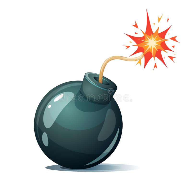 Bomba dos desenhos animados, fusível, feltro de lubrificação, ícone da faísca ilustração stock