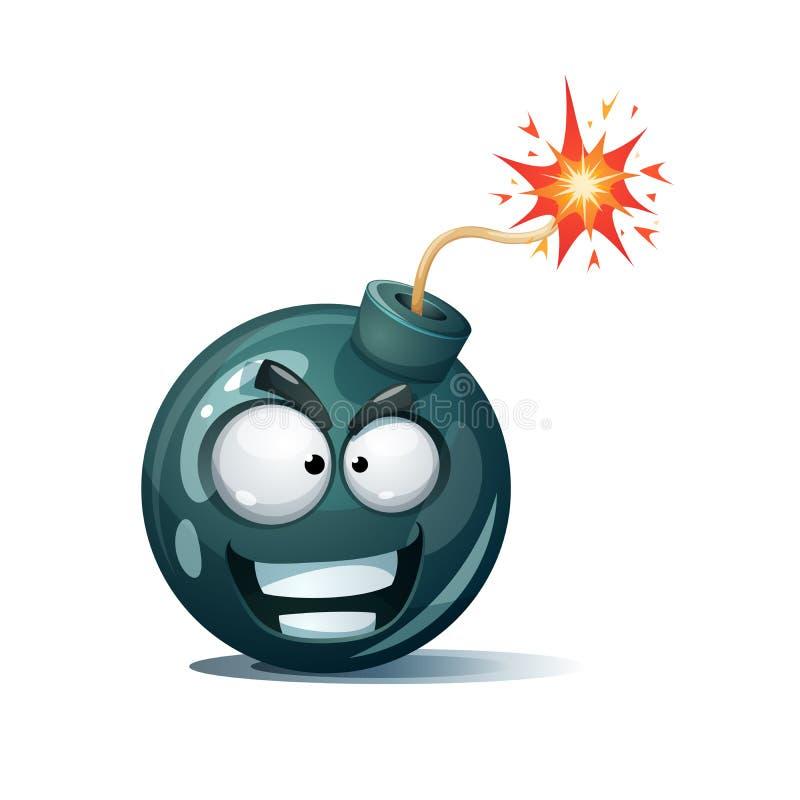 Bomba dos desenhos animados, fusível, feltro de lubrificação, ícone da faísca Smiley do sorriso ilustração stock
