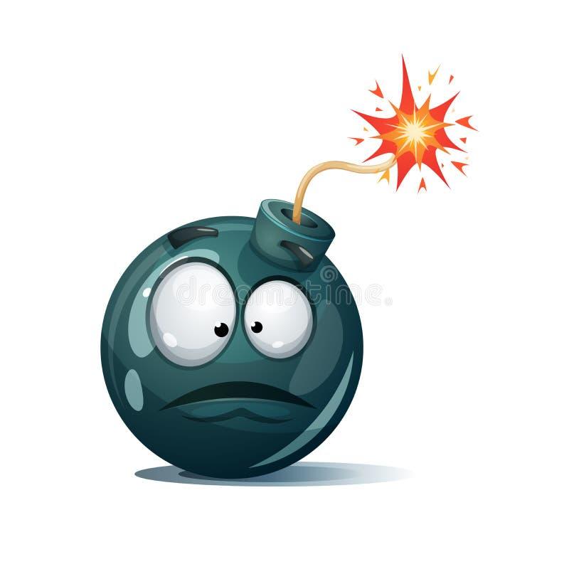 Bomba dos desenhos animados, fusível, feltro de lubrificação, ícone da faísca Smiley da surpresa ilustração do vetor