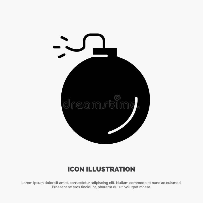 Bomba, explosivo, ícone preto contínuo do Glyph da explosão ilustração royalty free