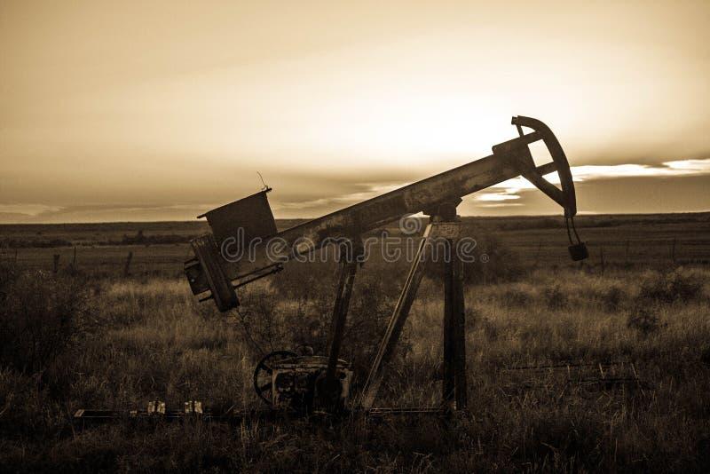 Bomba Jack do campo petrolífero no por do sol imagem de stock