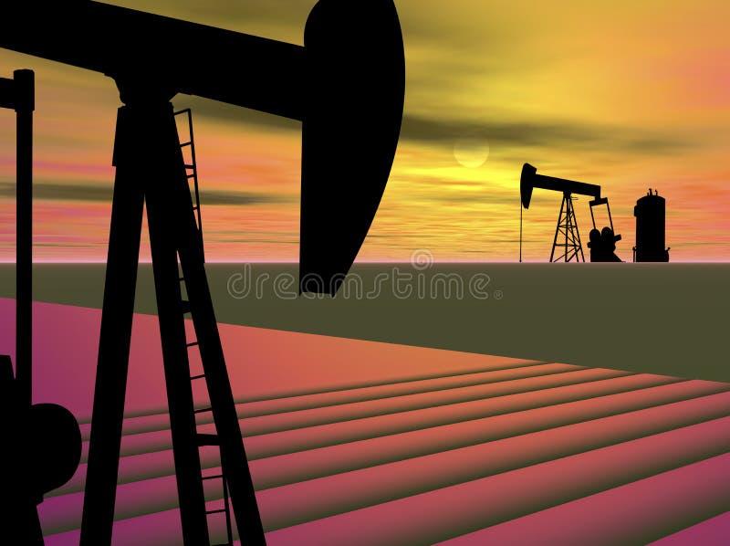 Bomba Jack do poço de petróleo ilustração royalty free