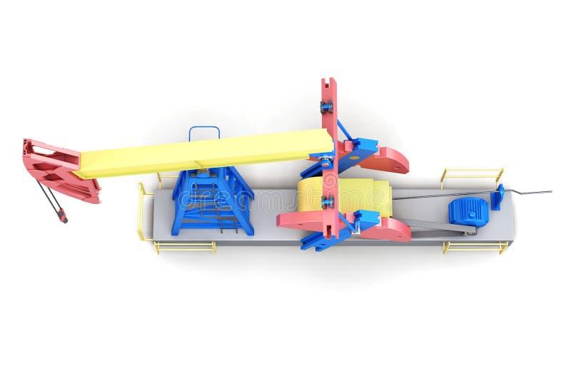 Bomba-jaque da plataforma petrolífera isolado no fundo branco Vista superior 3d ilustração stock