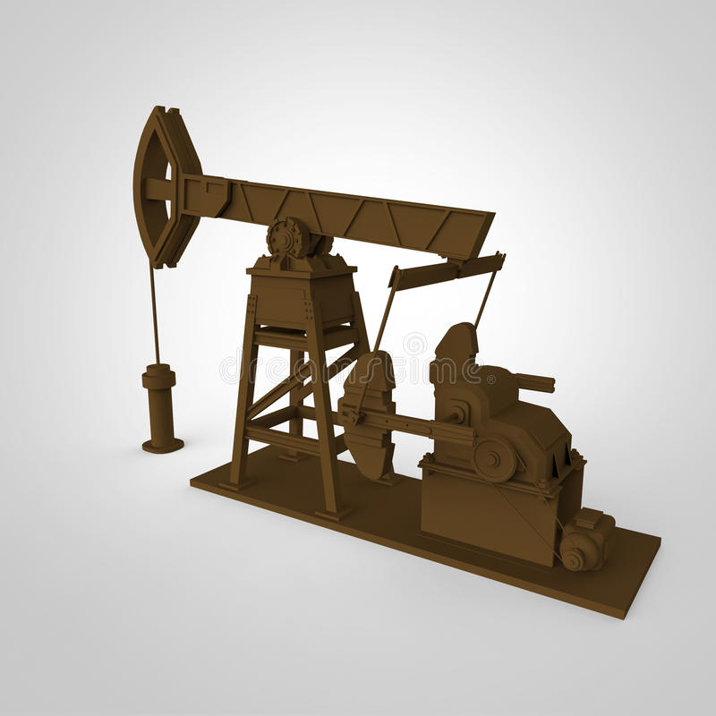 Bomba-jaque oxidado altamente detalhado, plataforma petrolífera rendição isolada indústria do combustível, ilustração da crise da foto de stock
