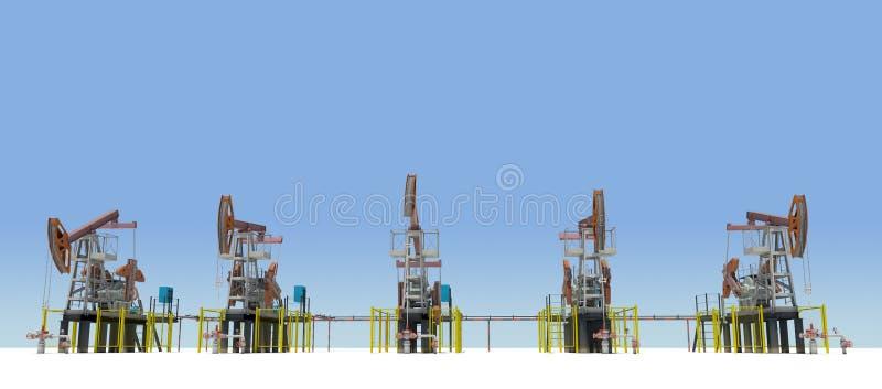 Bomba-jaques do óleo no plano branco Front View imagem de stock royalty free