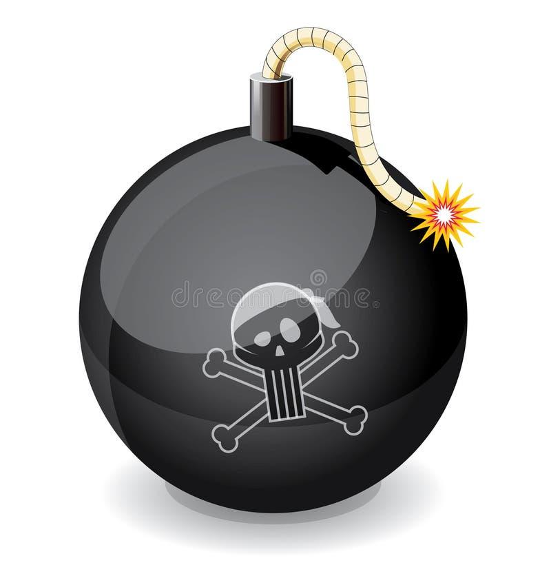 Bomba nera di lucentezza del pirata illustrazione di stock