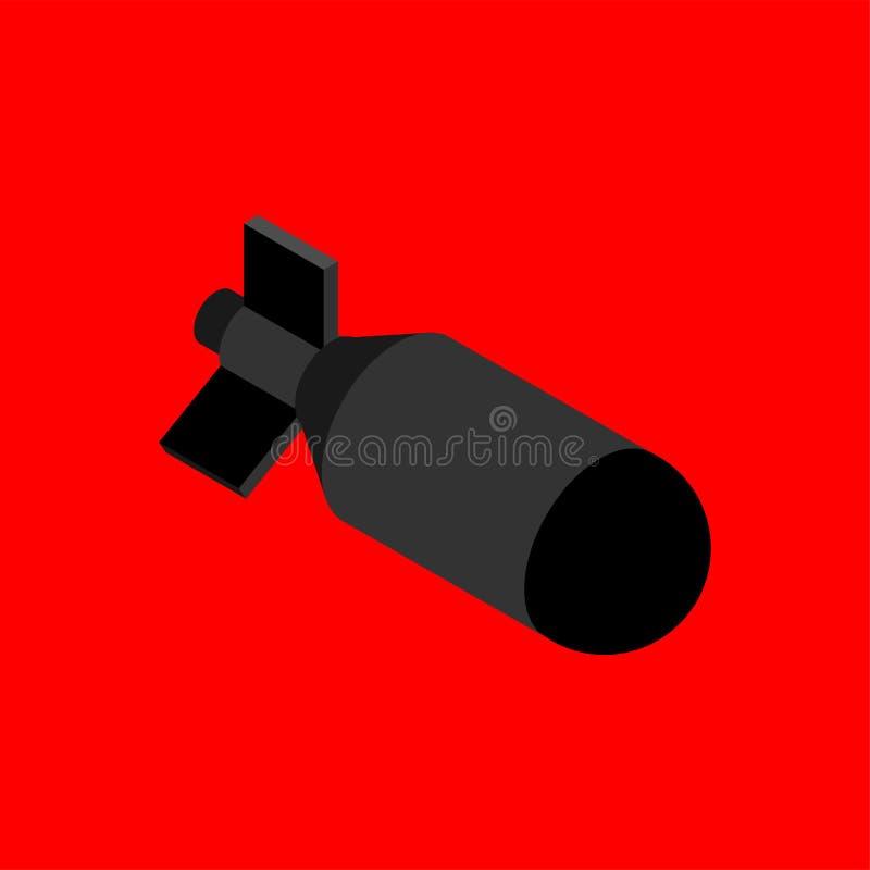 Bomba nuclear aislada Bomba del torpedo Ilustración del vector stock de ilustración