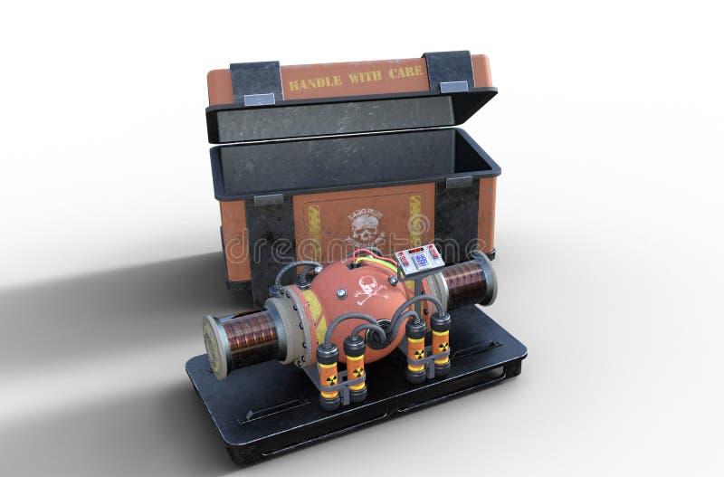 Bomba nuclear suja - dispositivo do dia do julgamento final do terrorista ilustração stock