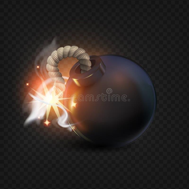 Bomba preta com faíscas bomba realista 3D Caricatura Fundo escuro, ícone, ilustração abstrata nuvens de luz festiva ilustração stock