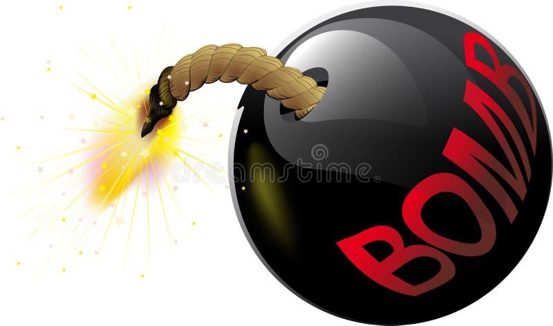 Bomba redonda con una mecha ardiente ilustración del vector