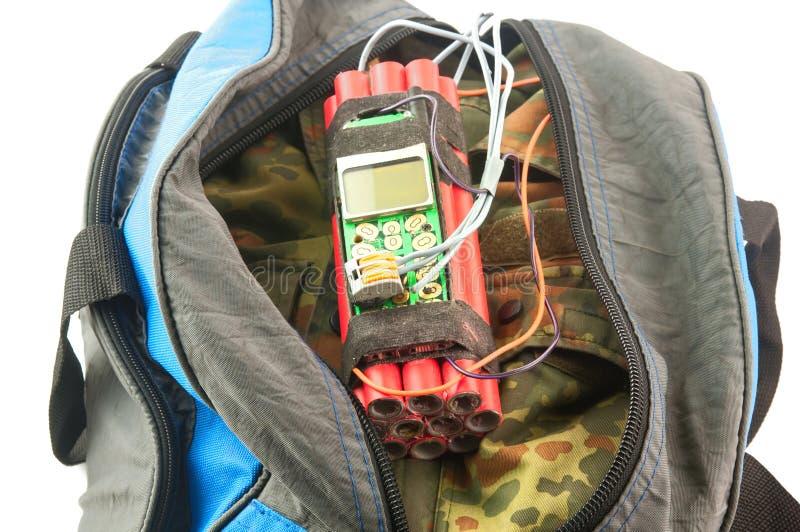 Bomba-relógio no saco fotografia de stock