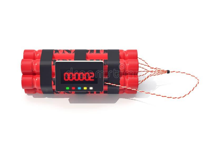 Bomba roja de la dinamita de TNT con un contador de tiempo aislado en el fondo blanco ilustración 3D ilustración del vector