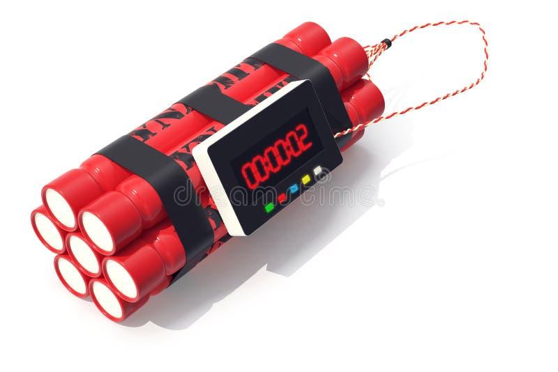 Bomba roja de la dinamita de TNT con un contador de tiempo aislado en el fondo blanco ilustración 3D libre illustration