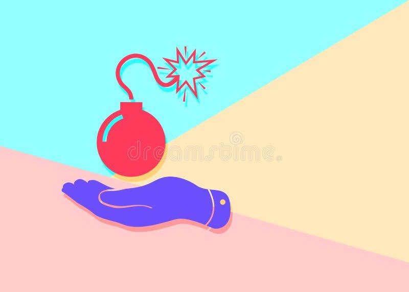bomba roja mínima moderna plana con el icono de la mano con la sombra en azul libre illustration