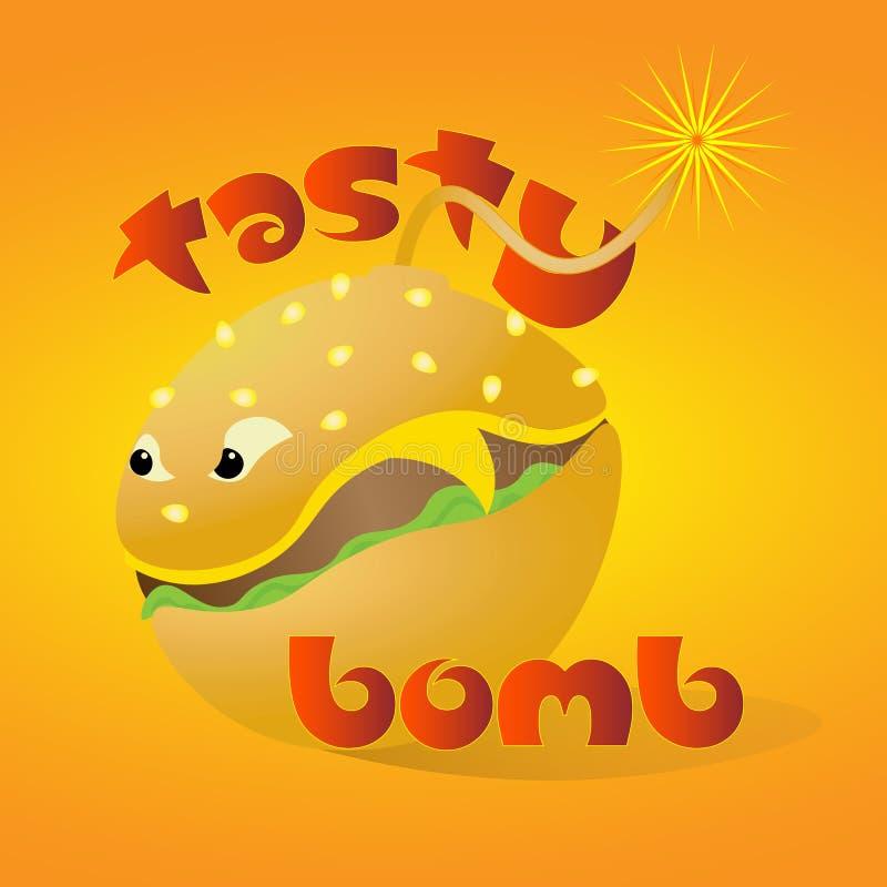 Bomba saboroso colorida brilhante do logotipo da arte do Hamburger ilustração stock