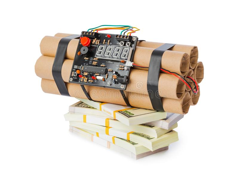 Bomba y dinero de la dinamita fotografía de archivo libre de regalías