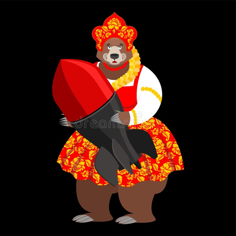 Bomba y oso rusos Armas nucleares en Rusia Ilustraci?n del vector ilustración del vector
