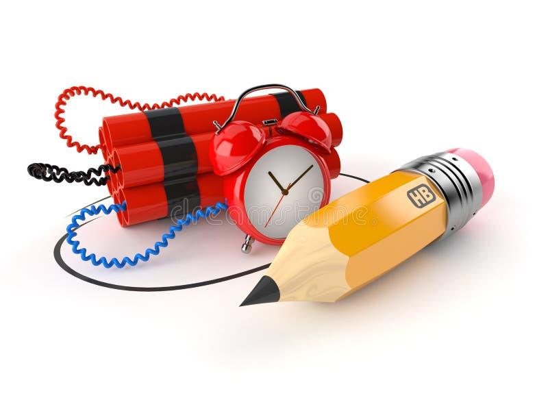 Bomba zegarowa z ołówkiem royalty ilustracja