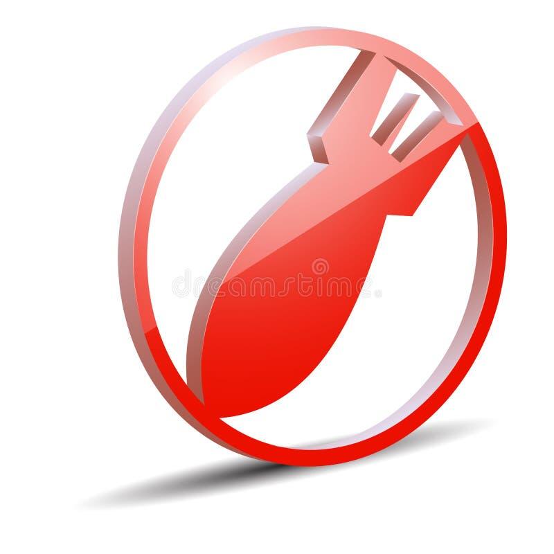 Bombardeie o ícone, foguetes vermelhos em um quadro redondo ilustração do vetor