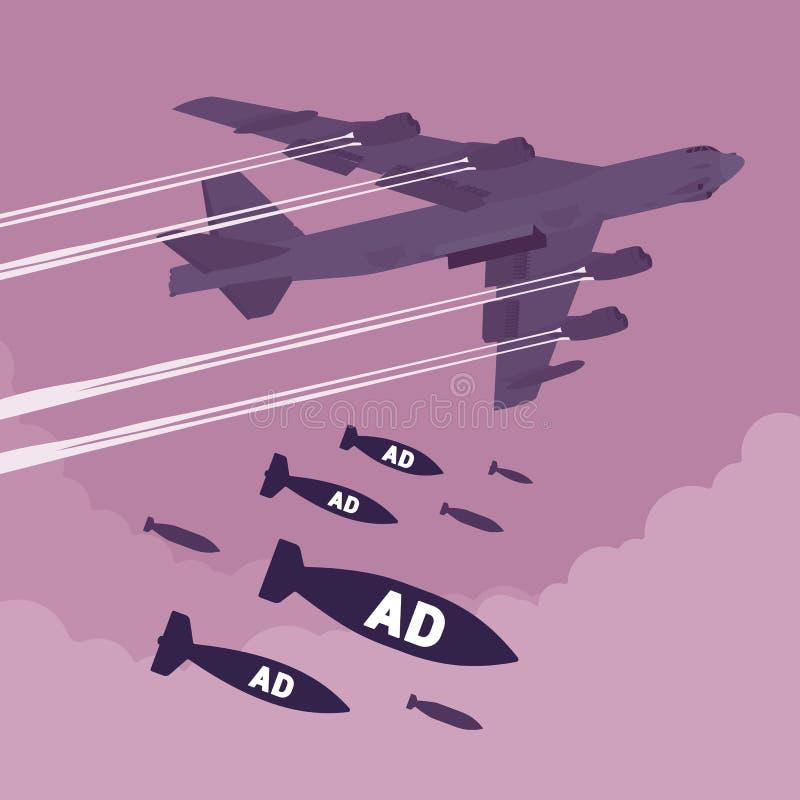 Bombardeio do bombardeiro e do anúncio ilustração stock
