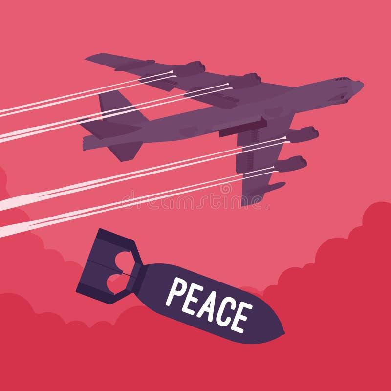 Bombardeio do bombardeiro e da paz ilustração do vetor