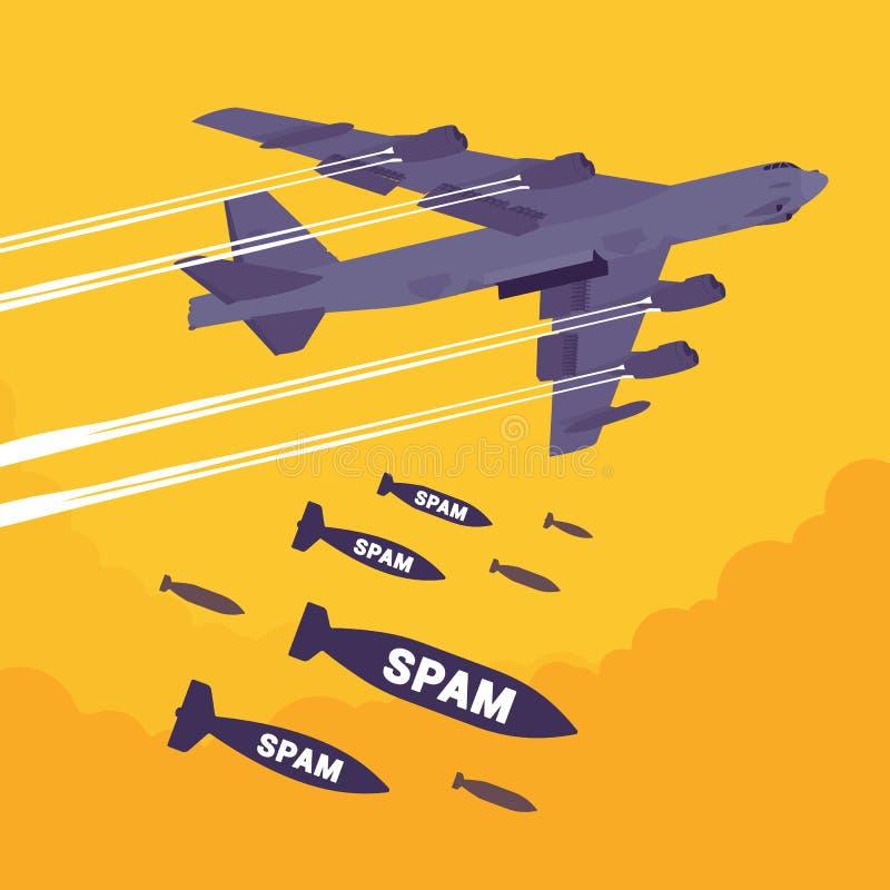Bombardeio do bombardeiro e do Spam ilustração stock