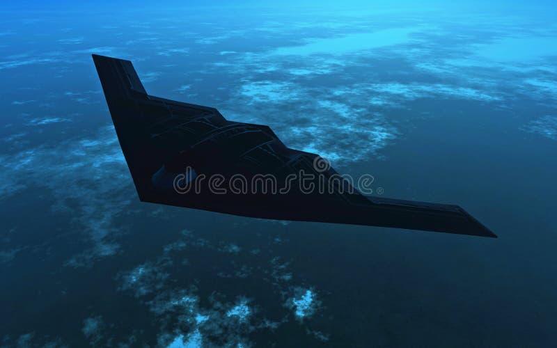 Bombardeiro B2 na noite ilustração royalty free
