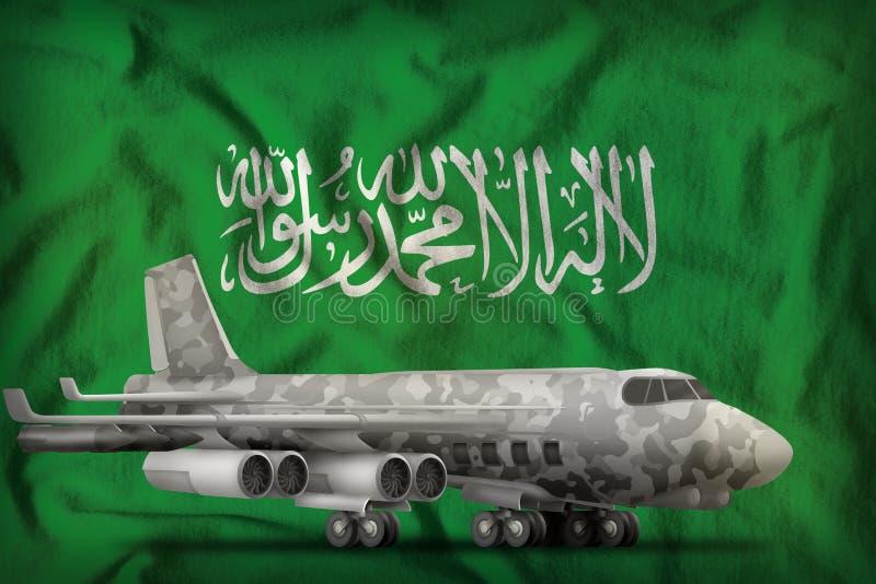 Bombardeiro com camuflagem da cidade no fundo da bandeira do estado de Arábia Saudita ilustração 3D ilustração do vetor