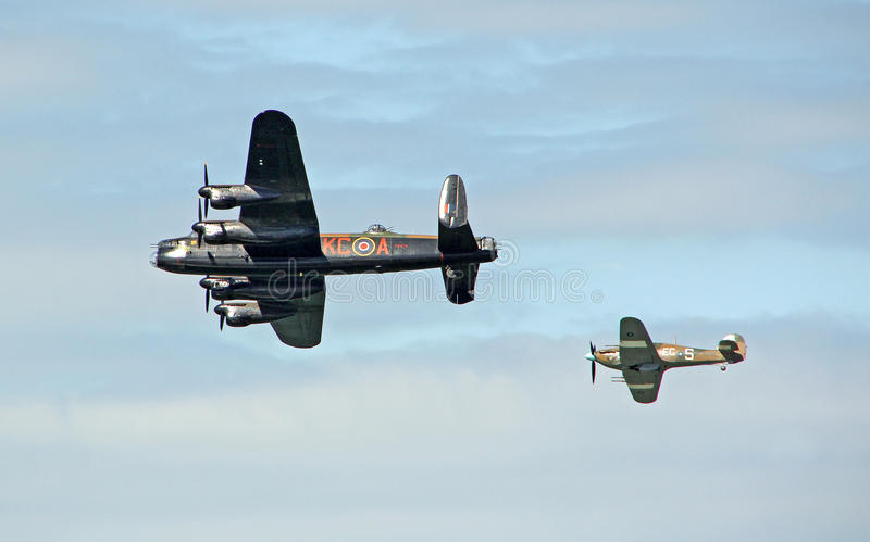 Bombardeiro de Lancaster e vendedor ambulante Hurricane imagens de stock royalty free