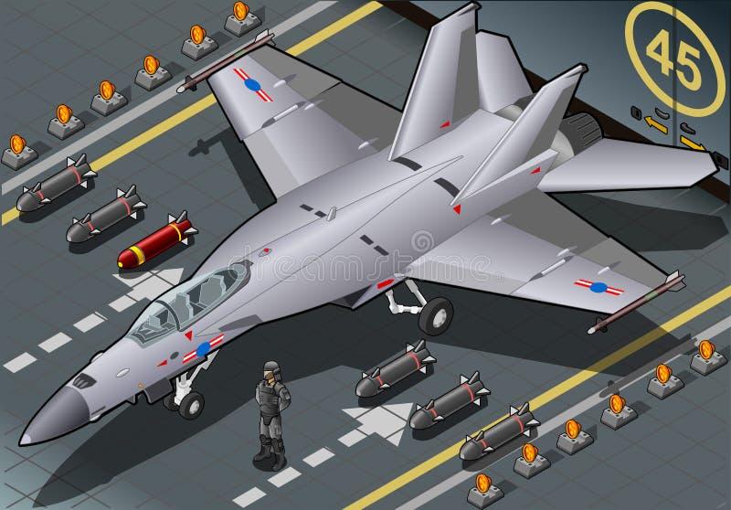 Bombardeiro de lutador isométrico aterrado em Front View ilustração royalty free