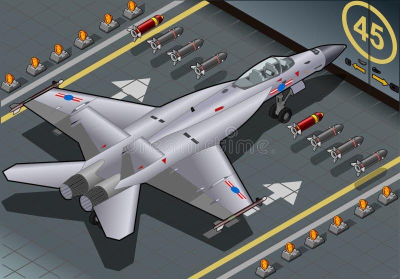Bombardeiro de lutador isométrico aterrado na vista traseira ilustração stock