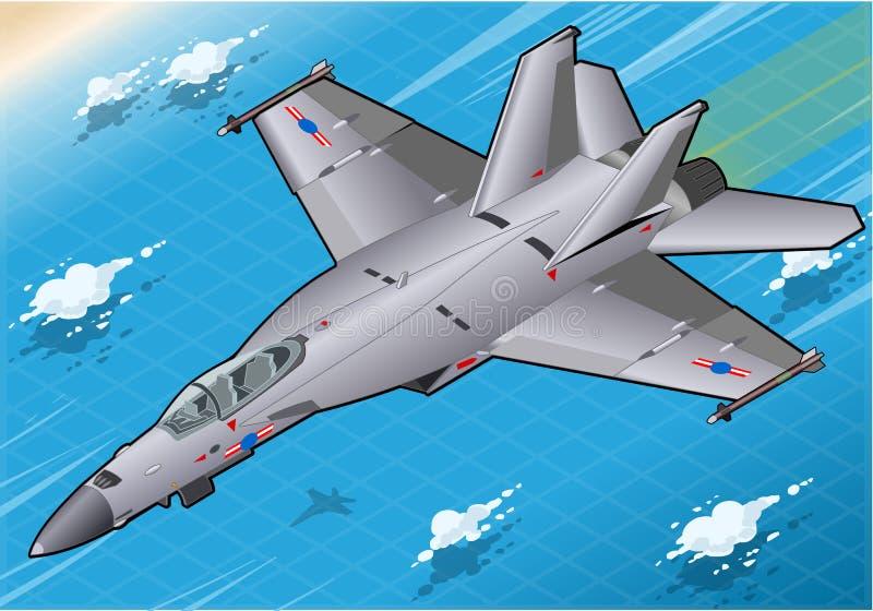 Bombardeiro de lutador isométrico em voo em Front View ilustração royalty free