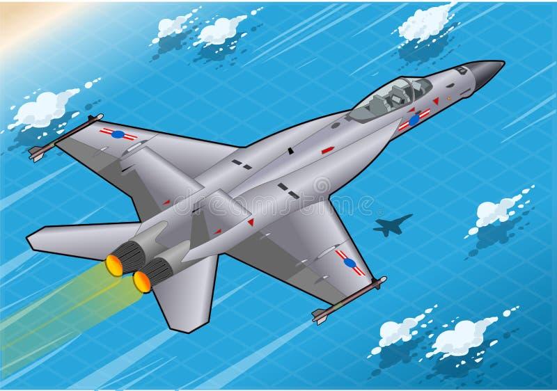 Bombardeiro de lutador isométrico em voo na vista traseira ilustração stock