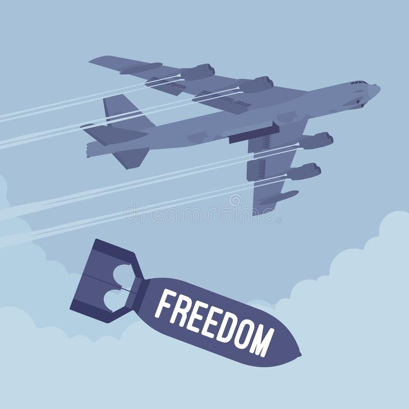 Bombardeiro e bombardeio da liberdade ilustração do vetor