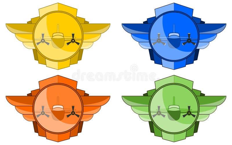 Bombardeiro nas asas e no emblema do círculo ilustração royalty free