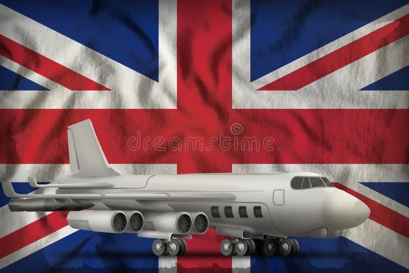 Bombardeiro no fundo BRITÂNICO da bandeira do estado de Reino Unido ilustra??o 3D ilustração do vetor