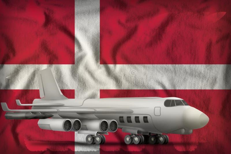 Bombardeiro no fundo da bandeira do estado de Dinamarca ilustra??o 3D ilustração do vetor