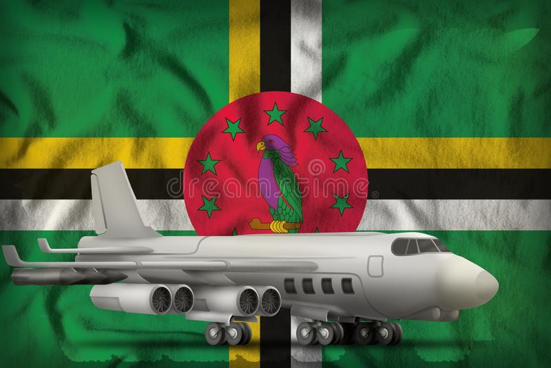 Bombardeiro no fundo da bandeira do estado de Dom?nica ilustra??o 3D ilustração royalty free