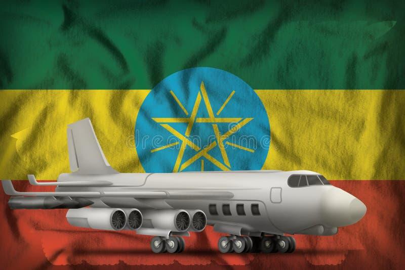 Bombardeiro no fundo da bandeira do estado de Etiópia ilustra??o 3D ilustração do vetor