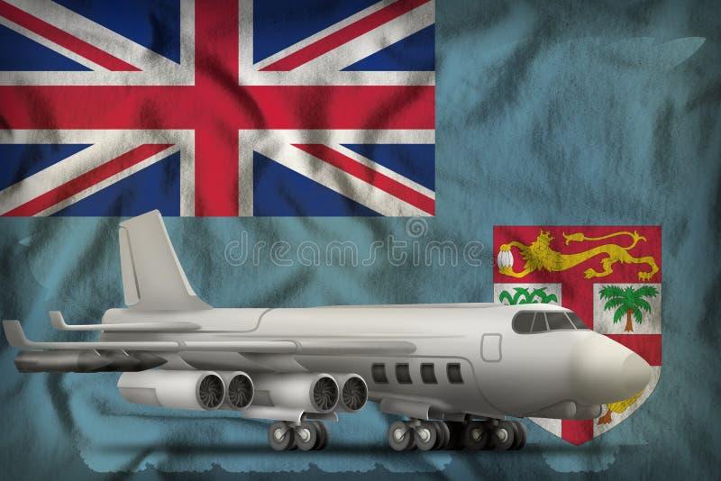 Bombardeiro no fundo da bandeira do estado de Fiji ilustra??o 3D ilustração royalty free