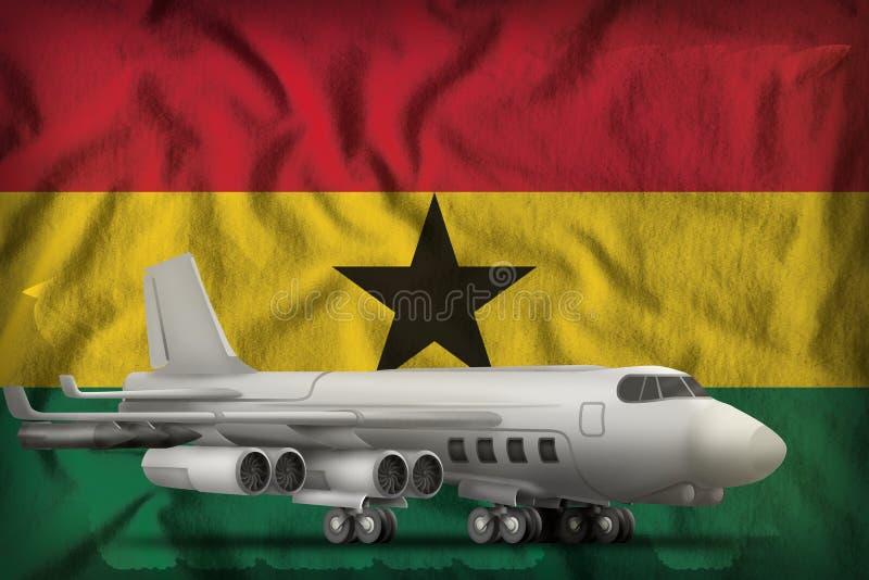 Bombardeiro no fundo da bandeira do estado de Gana ilustra??o 3D ilustração royalty free