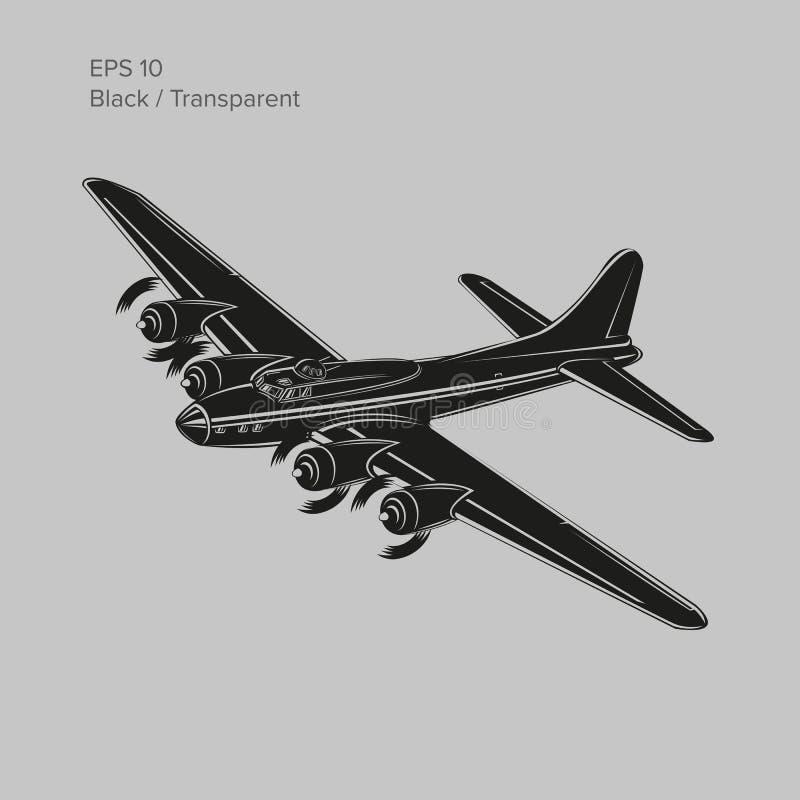 Bombardeiro pesado legendário da guerra mundial 2 do vintage Aviões pesados propelidos retros velhos do motor de pistão Ilustraçã ilustração do vetor