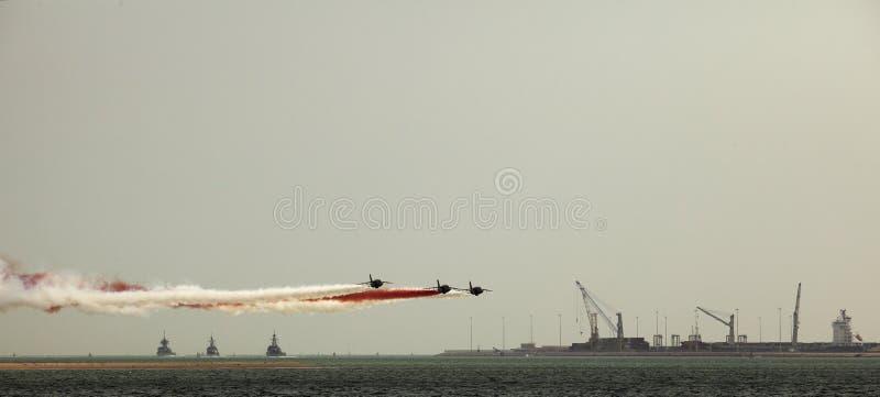 Bombardeiros e navios de guerra imagens de stock