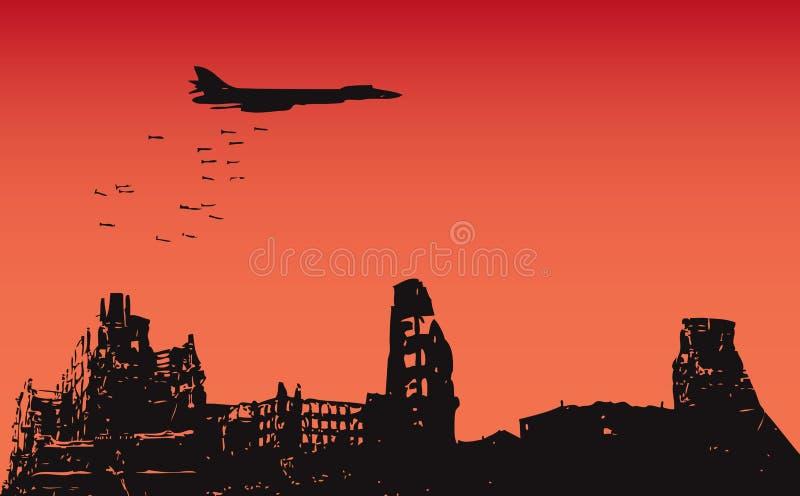 Bombardement de la ville illustration stock