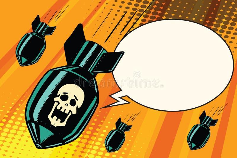 Bombardement de masse, criant aucun squelette illustration libre de droits